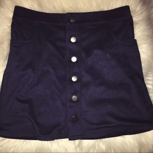 Express Navy Suede Button Down Mini Skirt